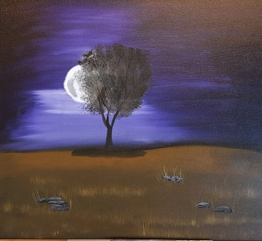Purple night Olja 60x50 cm